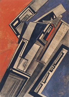 Percy Wyndham Lewis - Composition in Red and Mauve,1915 Pen, ink, chalk and gouache on paper.