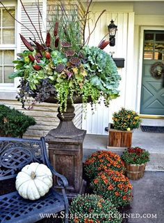 Fall Front Porch and Fabulous Urn Planter Fall Front Porch Autumn DIY Urn Decorating - Autumn Decorating, Porch Decorating, Ikebana, Fall Containers, Fall Arrangements, Large Flower Arrangements, Fall Planters, Autumn Garden, Diy Autumn