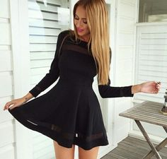 Fashion pure color long sleeve dress 4901962