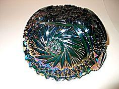 Vintage Carnival Glass Pinwheel Saw-tooth Edge Bowl