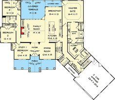Plan 36031DK: Craftsman House Plan with Angled Garage Master Closet, Bathroom Closet, Ranch Floor Plans, Craftsman Floor Plans, Retirement, Craftsman Houses, Craftsman Ranch, Open Concept House Plans, Barndominium