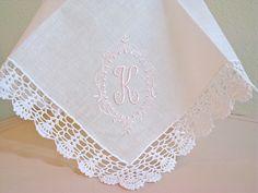 Princes Border Design Monogram on Crochet от linenwhites Picot Crochet, Crochet Poncho, Crochet Lace, Crochet Square Patterns, Crochet Borders, Handkerchief Embroidery, Wedding Pillows, Machine Applique, Border Design