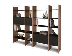 Enchanting Wooden Modular Shelving Unit Design Idea with Walnut Wood Frames and Black Wood Shelves and Six Black Drawers Idea