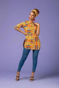 The Shalla Top is stunning in theColorful African Print. It's comfy to wear and will make sure you stand out in a crowd African American Fashion, African Inspired Fashion, Latest African Fashion Dresses, African Print Dresses, African Print Fashion, Africa Fashion, African Dress, African Attire, African Wear