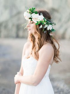 Ethereal + beachy flower crown: http://www.stylemepretty.com/2016/05/12/how-to-flower-crown-for-brides/