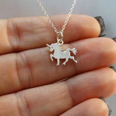 Tiny Unicorn Necklace in Sterling Silver