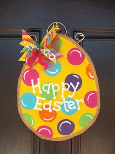 2015 Easter diy hand painted burlap egg door hanger with dfferent pattern bowknot - happy easter