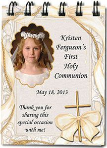 1st Communion Party Favors Idea - Photo pocket notebooks are unique keepsakes for your guests! More 1st communion favors and invitations at http://www.photo-party-favors.com/