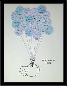 boy balloon baby shower guest book