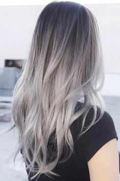 Light Grey Ombre Hair greyhair ombre ❤ Grey ombre hair remains popular, which is not surprising as this color is super cool. If you wonder how to pull off grayish shades, see our ideas. White Ombre Hair, Silver Ombre Hair, Grey White Hair, Best Ombre Hair, Ombre Hair Color, Brown To Grey Ombre, Grey Dyed Hair, How To Colour Hair, How To Ombre Hair