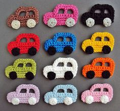 Knitting patterns, knitting designs, knitting for beginners. Crochet Frog, Crochet Car, Cute Crochet, Crochet Motif, Crochet For Kids, Crochet Flowers, Crochet Baby Bibs, Crochet Pattern Central, Crochet Applique Patterns Free