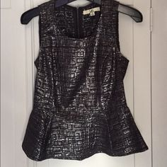 Peplum top Vintage silver peplum top with zip up back Tops