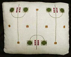 Arts & Crafts Pillow. Embroidered Linen.