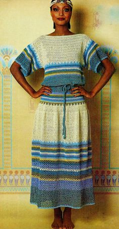 Two-Piece Blue Nile Dress 1970's Vintage PDF Crochet Pattern