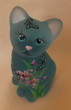 Fenton Glass Blue Mini Cat Kitten Flowers Butterflies Pretty OOAK by CC Hardman