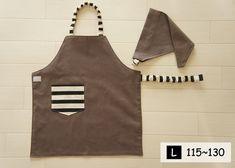 こどもエプロンL[115-130] 三角巾セット グレージュとブラックボーダー Sewing Aprons, Kids Apron, Minne, Baby Kids, Pattern, Handmade, Apron, Aprons, Clothing