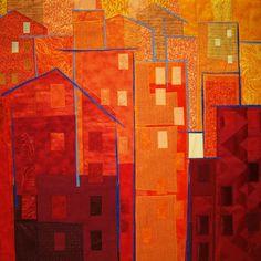 """Sun Sets Red, Fiber, 34 x 34"""" Framed                                                                                                                                                      More"""