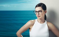 Download wallpapers Anne Hathaway, portrait, woman with glasses, sea, american actress, white dress, smile