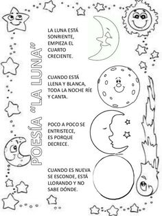 Poesía la luna Spanish Songs, Learning Spanish, Kids Learning, Planets Preschool, Kindergarten Science, School Worksheets, Worksheets For Kids, Moon Activities, Toddler Activities