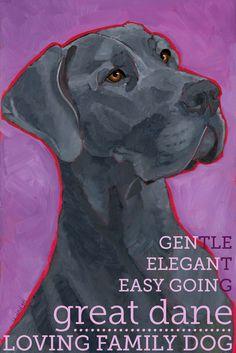 "Great Dane No. 1 - Blue Natural Ear 2x3"" magnet from original oil painting dog portrait. $5.99, via Etsy."
