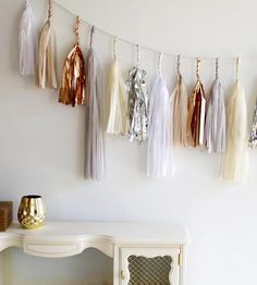 gold + white tassel garland