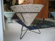 Kurrlson mid century pebble finish cone planter - steel-rod hairpin base with concrete cone knowyourproduct.net.au