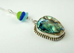 Abalone Jewelry Sterling Silver Bezel Genuine Sea Glass Necklace | Surfside Sea Glass Jewelry