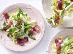Spargel-Pasta mit Bündner Fleisch -smarter- mit einer Zitronen-Frischkäse-Sauce  Kalorien: 473 kcal | Zeit: 45 min. #Spargel