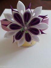 "Handmade headband kanzashi flower ""Violet-white"" party beauty girl women"