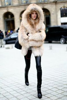 Fur Coat And Black Leather Pant
