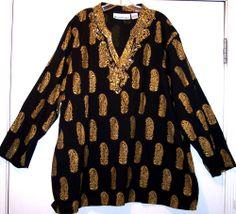 Denim 24/7 Top 3X Plus Size Black Gold Beaded Boho Hippie Tunic Shirt Blouse 62B