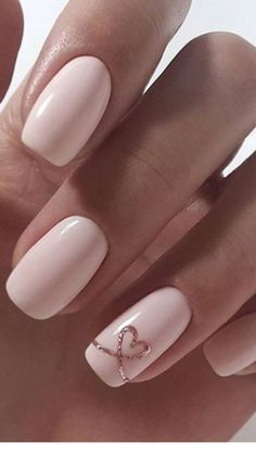 nails for prom pink * nails for prom . nails for prom silver . nails for prom white . nails for prom pink . nails for prom black . nails for prom red dress . nails for prom neutral . nails for prom gold Heart Nail Designs, Valentine's Day Nail Designs, Nail Designs With Hearts, Easy Nail Art Designs, Cute Simple Nail Designs, Simple Acrylic Nail Ideas, Light Pink Nail Designs, Chic Nail Designs, Gel Manicure Designs