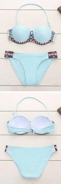 Light Blue Print Halter Bikini