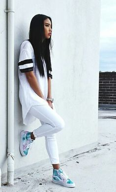 Urban fashion, all white, vans, street style