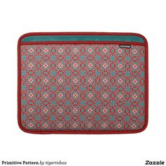 """Rickshaw MacBook Air sleeve with peacock interior lining. Decorative motif in red coral and aqua green.  Water resistant, extra durable.  Ultra-plush protective lining.   Sized for MacBook Air 11"""" or MacBook Air 13""""    $69.45"""