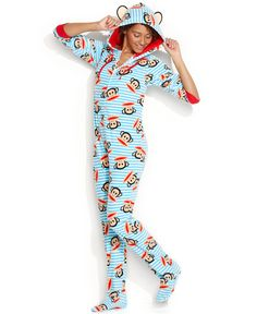 Paul Frank Hooded Footed Pajamas - Lingerie - Women - Macy's