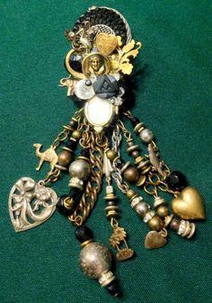Lisa Carlson Antique Vntg Ornamental Assemblage Combination Jewelry Brooch Pin #LisaCarlson