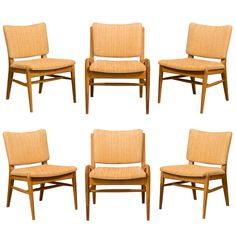 Six John Keal for Brown Saltman Mahogany Dining Chairs | From a unique collection of antique and modern sectional sofas at https://www.1stdibs.com/furniture/seating/sectional-sofas/