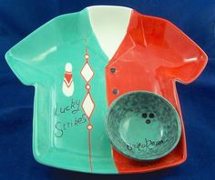 Rare Unique Bowling Shirt Bowling Ball Ceramic Chip Dip Serving Tray Bowler Gift