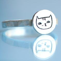 ALICE the CAT stacking ring, artwork by Gemma CORRELL, eco-friendly silver. Handcrafted by Chocolate and Steel
