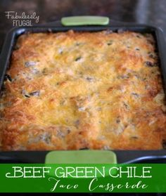 Warm memories of Mom, yep, that's what Beef Green Chile Taco Casserole imparts.  It was on her monthly rotation and I always loved it.  If you want to vary it,  you can swap chicken or pork for beef.