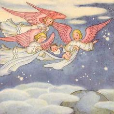 Ida Bohatta-Morpurgo - Baby New Year Baby New Year, Old Children's Books, Baumgarten, Delivering A Baby, Angels Among Us, Guardian Angels, Christmas Art, Illustrators, New Baby Products