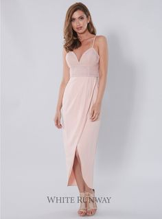 Azura Dress. A gorgeous full length dress by Love Honor. Features a softly draped wrap skirt and a lace bodice with moulded cups.