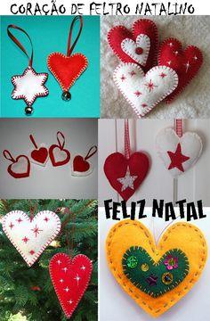 Artesanato feito de Feltro simbolizando o Coração Natalino.    Não esqueça de enviar sua carta ao Papai Noel: cartinhaaopapainoel.com.br
