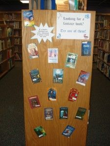 No display shelving? No problem! -- endcap genre displays (12-16 book covers) -- add call numbers to cover and laminate -- If a book is checked out, ask a librarian to place a hold for you!
