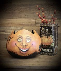 Folk Art paintings Halloween and Christmas by Halloween Candy Bowl, Scary Halloween, Halloween Crafts, Halloween Stuff, Cat Face Pumpkin, Cute Pumpkin Faces, Spooky Trees, Flying Witch, Painted Pumpkins