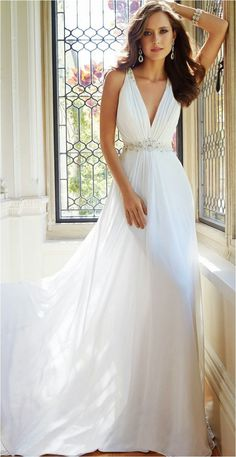 Cheap vestido de noiva, Buy Quality de noiva directly from China gowns bridal Suppliers: Sexy White Wedding Dresses 2016 Casamento Robe De Sleeveless V-neck Chiffon Beaded Vintage Gown Bridal Dresses vestido de noiva V Neck Wedding Dress, Wedding Dresses 2014, Wedding Dress Styles, Bridal Dresses, Bridesmaid Dresses, Prom Dresses, Dresses 2016, Greek Style Wedding Dress, Sofia Tolli Wedding Dress