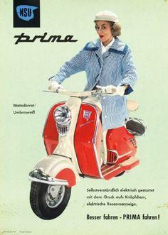 NSU Prima (1960) Moto Scooter, Scooter Girl, Vespa Scooters, Motorcycle Posters, Car Posters, Vintage Love, Vintage Ladies, Lambretta, Jean Shrimpton
