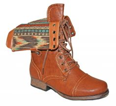 Heartbreaker - Aztec Lined Fold Down Combat Boot, Please email shopheartbreakermn@gmail.com for availability. State the product name, desired size and color along with the best way to contact you.  (http://store.shopheartbreaker.com/aztec-lined-fold-down-combat-boot/)