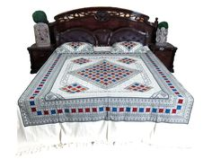 Indian Bedding White Bedspread Cotton Bedcover 2 Pillow Covers, Spa Decor: Amazon.com: Home & Garden